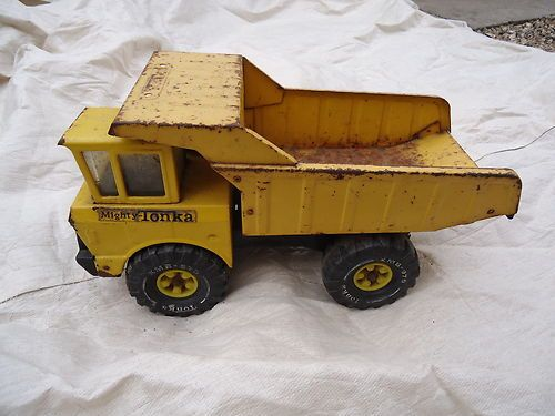 Tonka truck I had one as a child that wasn't plastic!  That way you could really do some damage!