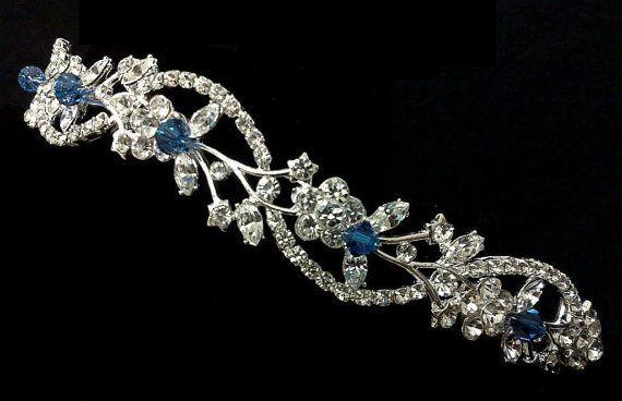 Something Blue Hair Tiara ADORNA Grecian Leaves Crown Bridal Halo Wedding Tiara Crystal Headpiece Vines Bridal Tiara Floral Crown