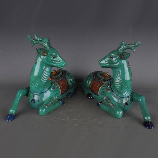 A Pair Chinese Turquoise Glaze Porcelain Incense Burner