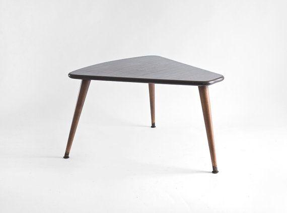Vintage Triangle Coffee Table Mid Century Modern Wood By Hindsvik - Mid century triangle coffee table