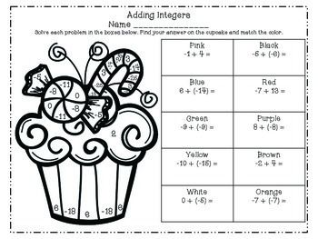 Math Christmas Coloring Pages Add Subtract Multiply Divide Integers Christmas Math Christmas Coloring Pages Integers