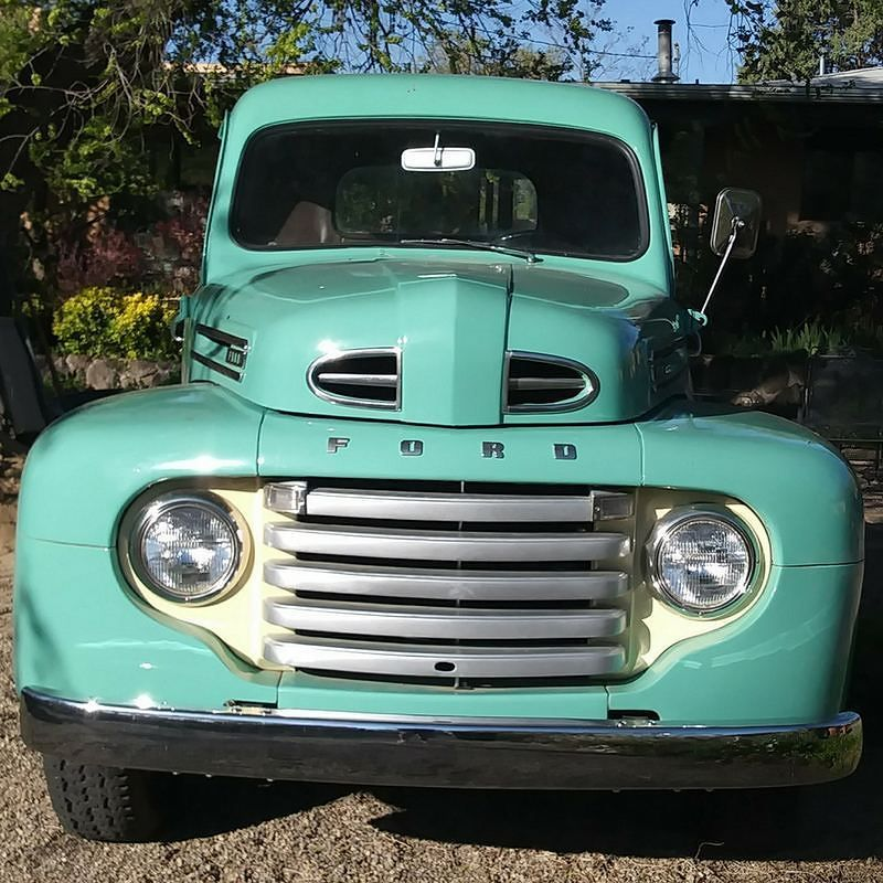 1950 Ford F-1  It has the original flathead V8 engine and 4 speed