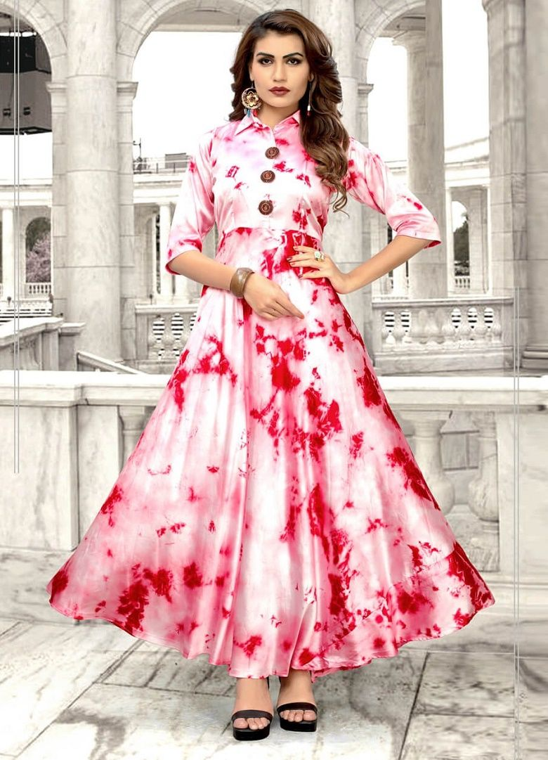 f41fa2ccd4 Light Pink Color Taiwan Satin Silk Kurti With Shibori Print | Kurti ...