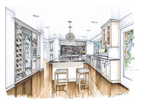 Hand Drawn Color Marker Rendering With Images Interior Design