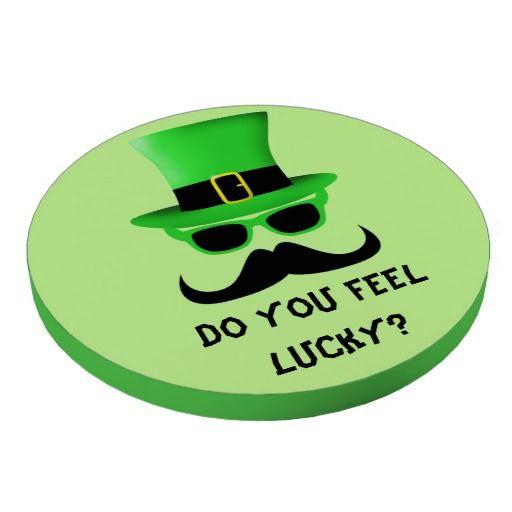 """Do you feel lucky?"" Funny and Cool Happy St. Patrick's Day Moustache, Green Sun Glasses and Top hat Poker Chips by #PLdesign #StPatricksDay #StPatricks #StPatSunglassesMan #PokerChips"