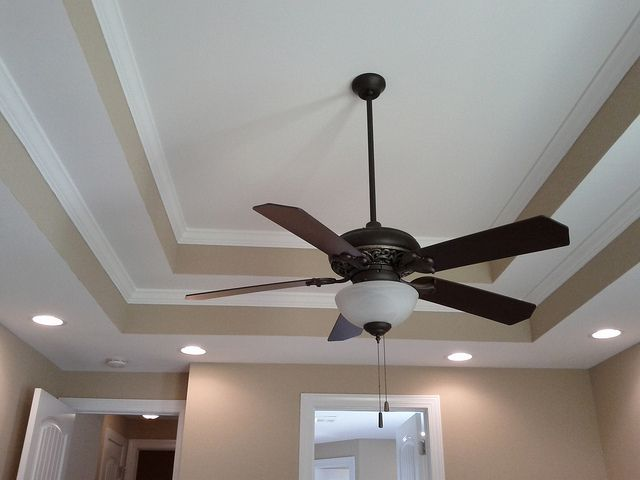 Double Tray Ceilings With Recessed Lights In The Master Bedroom
