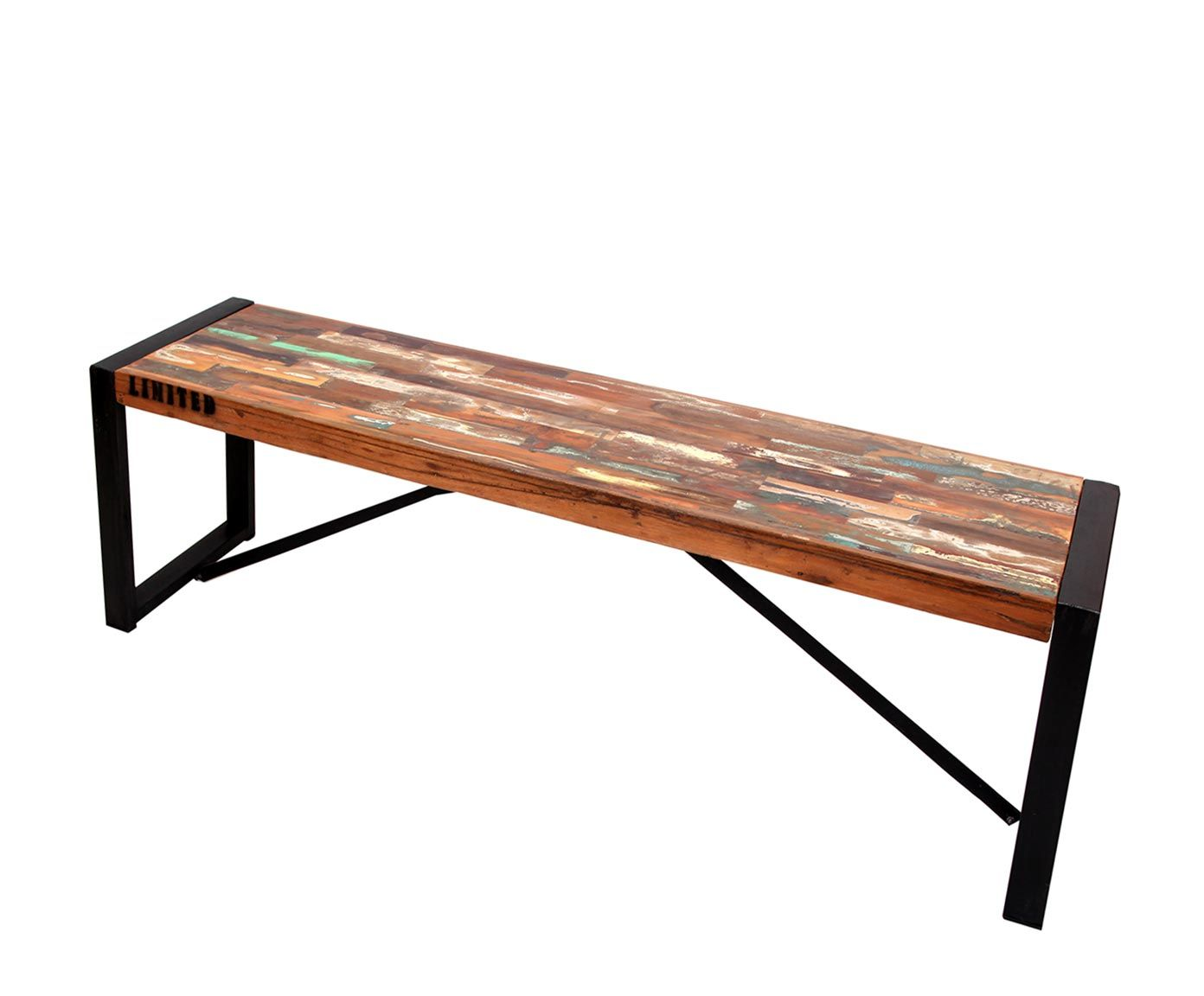 Banc Bois De Manguier Et Fer Noir Et Marron L150 Westwing  # Table Television En Bois De Sapin