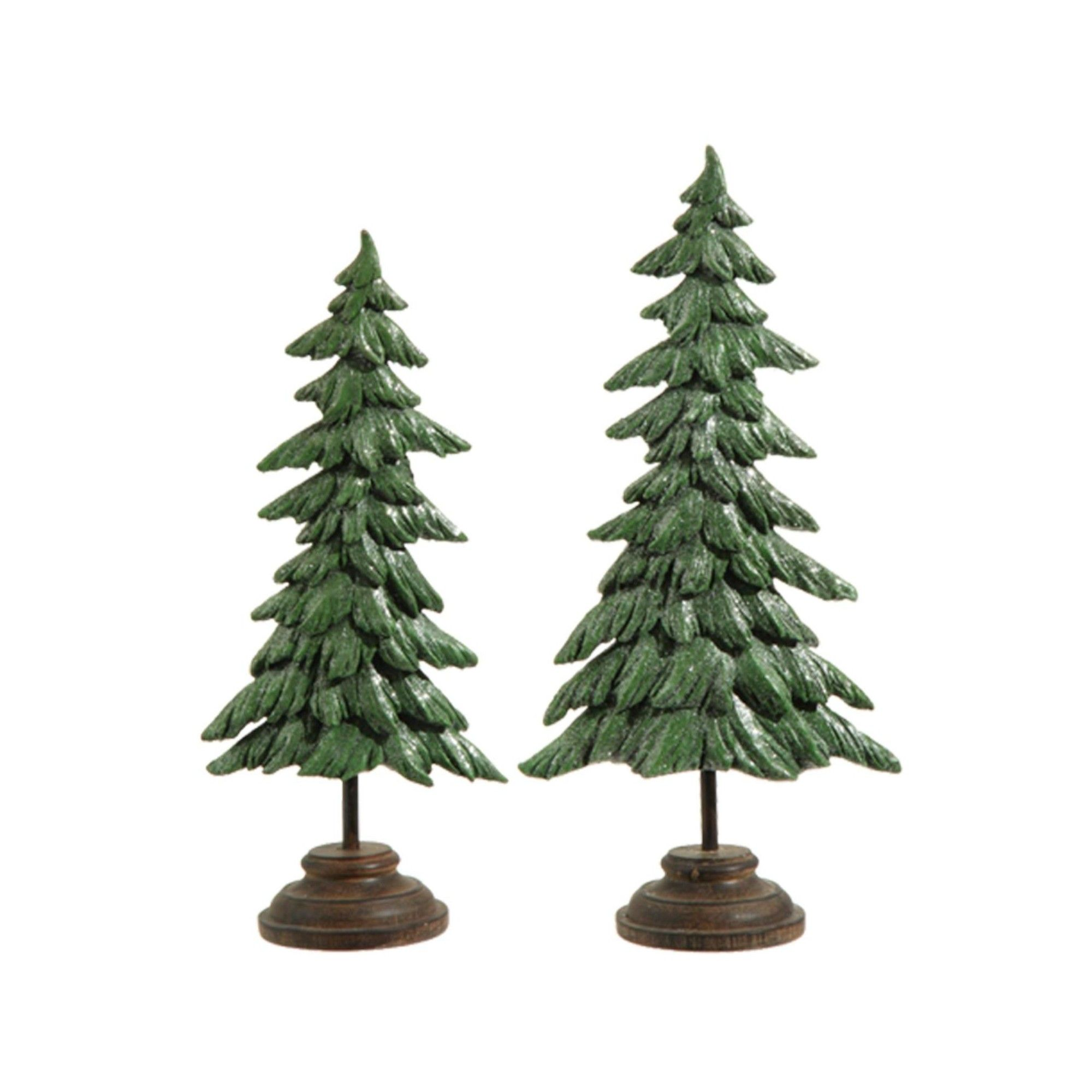 Carved Wooden Pine Trees set of 2