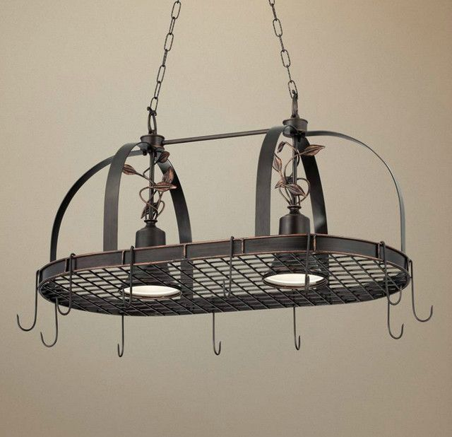 Rustic Style Kitchen Design With 2 Light Hanging Pot Rack