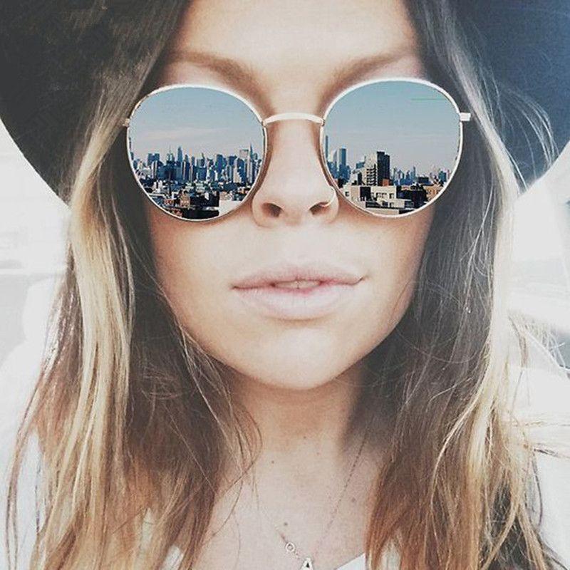 mirror sunglasses for women  Vintage Brand Design Round Women Sunglasses Brand Designer Retro ...