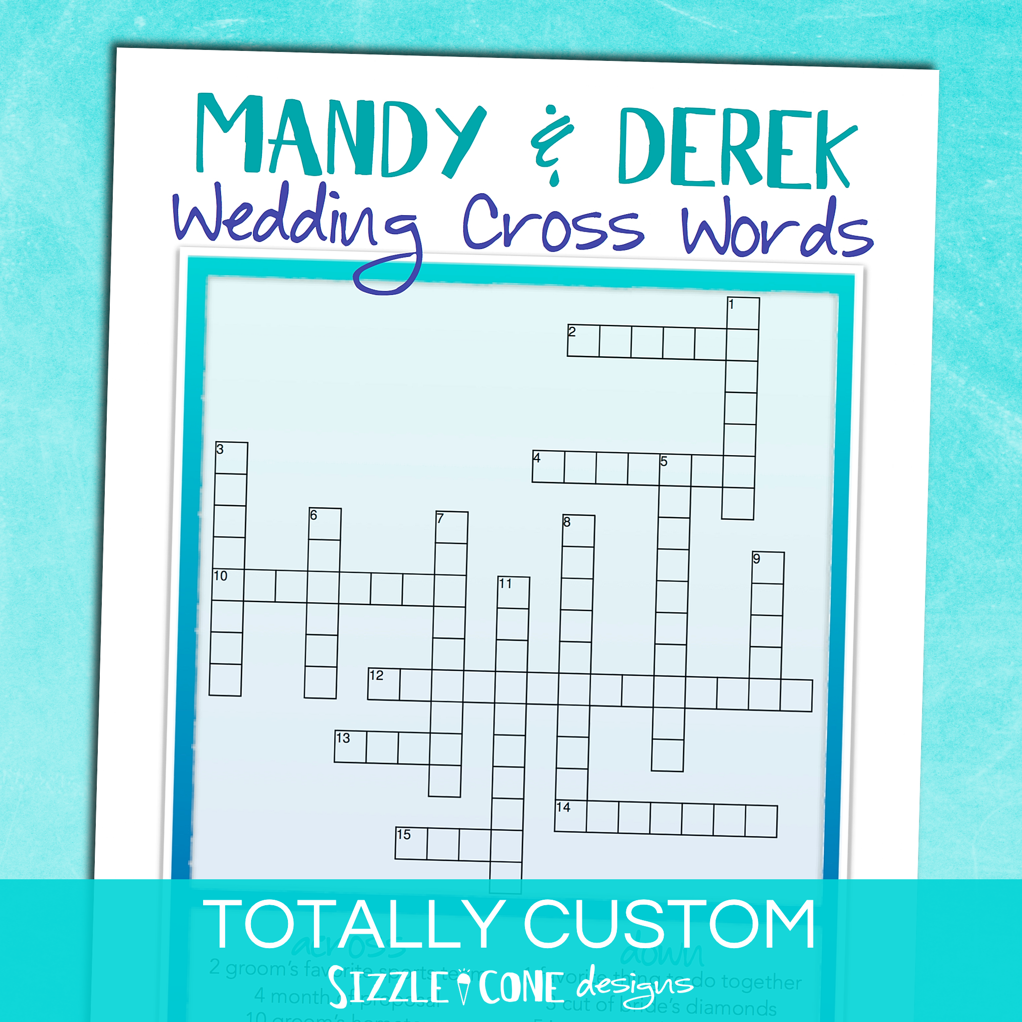 custom wedding crossword puzzle sizzle cone designs