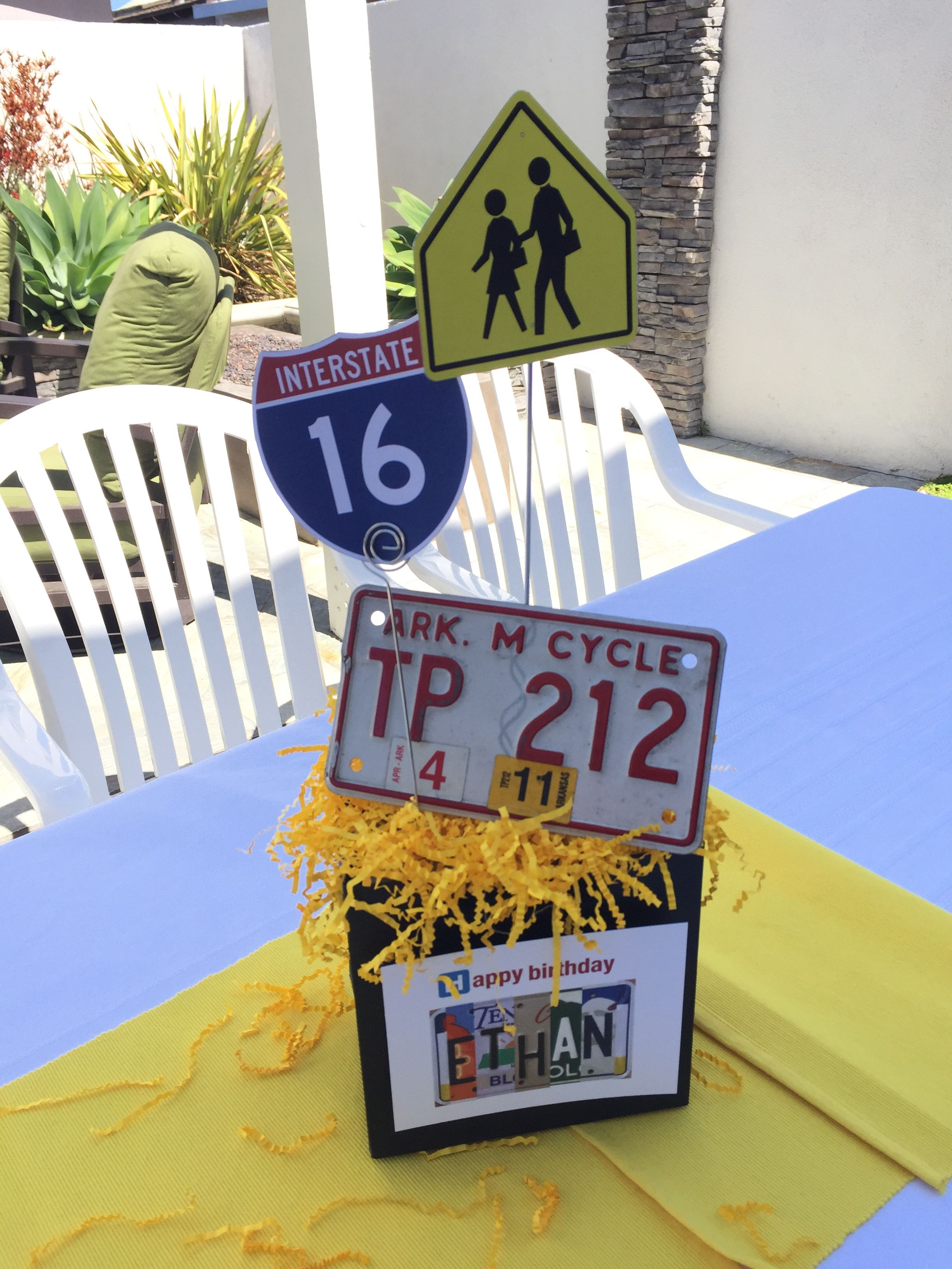 16TH Birthday Party With Road Trip Theme Motorcycle License Plates From Across The US Add Authenticity Downloaded Signs Printed And Mounted To Metal