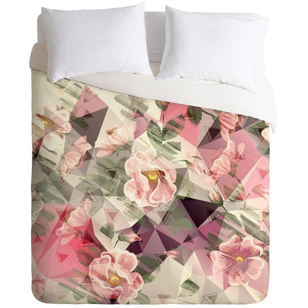 DENY Designs Marta Barragan Camarasa Shapes & Flowers Duvet Cover ($80) ❤ liked on Polyvore featuring home, bed & bath, bedding, duvet covers, flower bedding, flower stem, deny designs bedding, bloom bedding and contemporary bedding