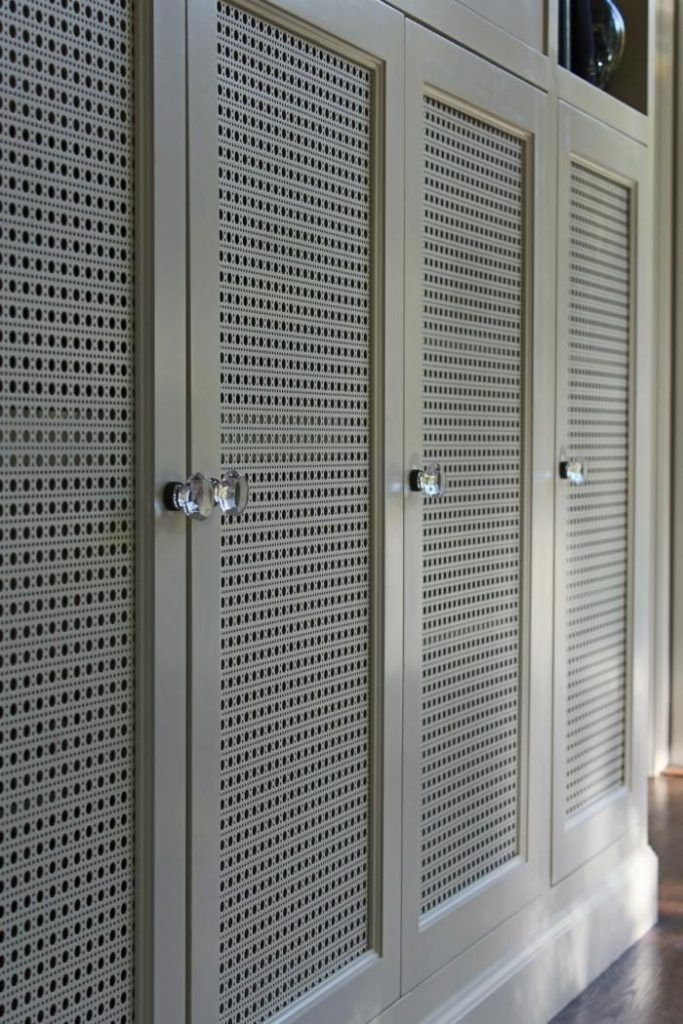 Beneath The TV, Stephanie Designed Doors With Octagon Cane Decorative  Perforated Metal.
