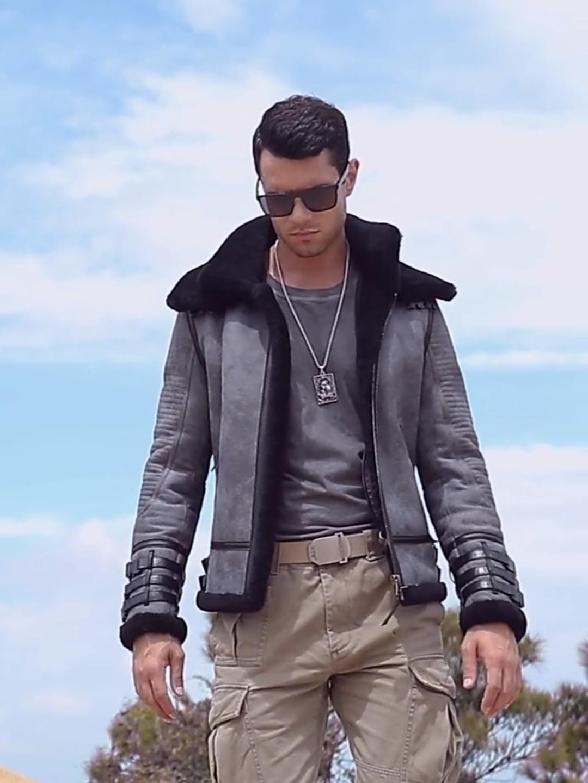 New Shearling Coat Mens B3 Bomber Jacket Short Fur Coat Grey Leather Jacket