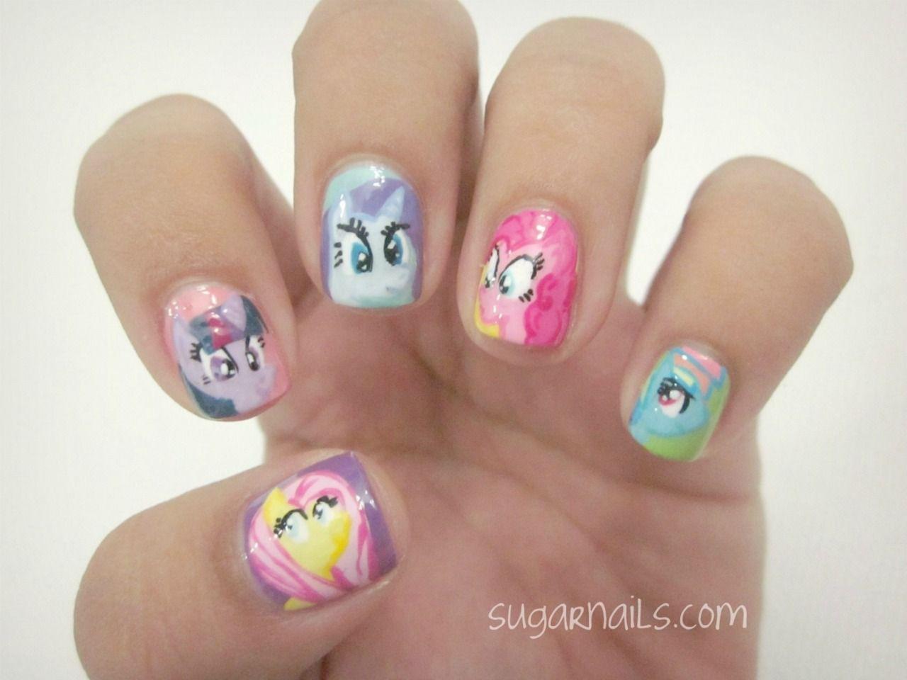 """ little pony"" nail art. sugarnails"