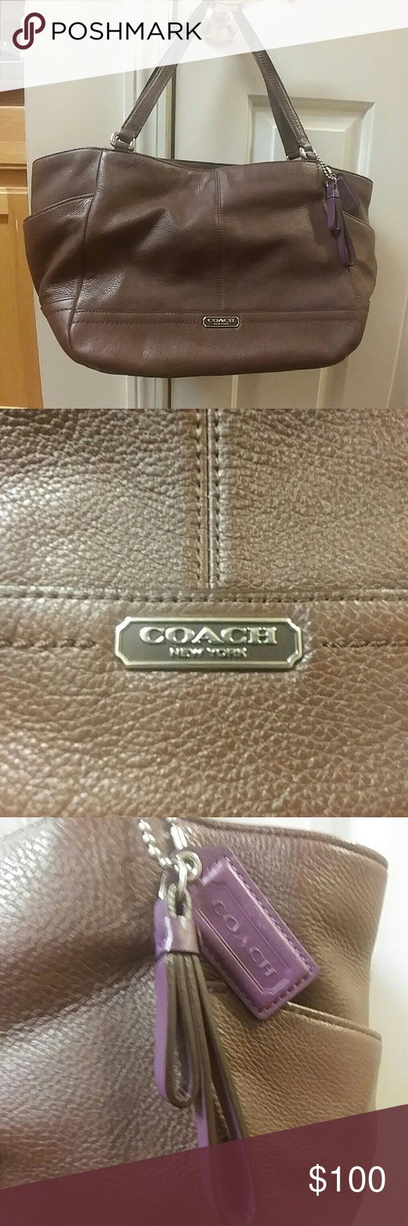 Coach Carrie Tote Coach Park leather Carrie Tote in Fig. Used a couple of times but in perfect condition. No scratches or marks! I'll consider all reasonable offers!   12Lx10Hx5w 8 depth Coach Bags Totes