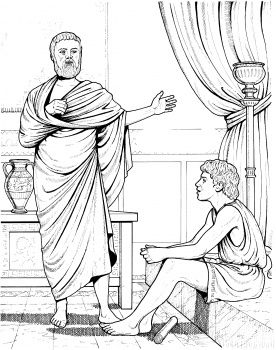 Aristotle Teaching (teaching Alexander the Great). Nice