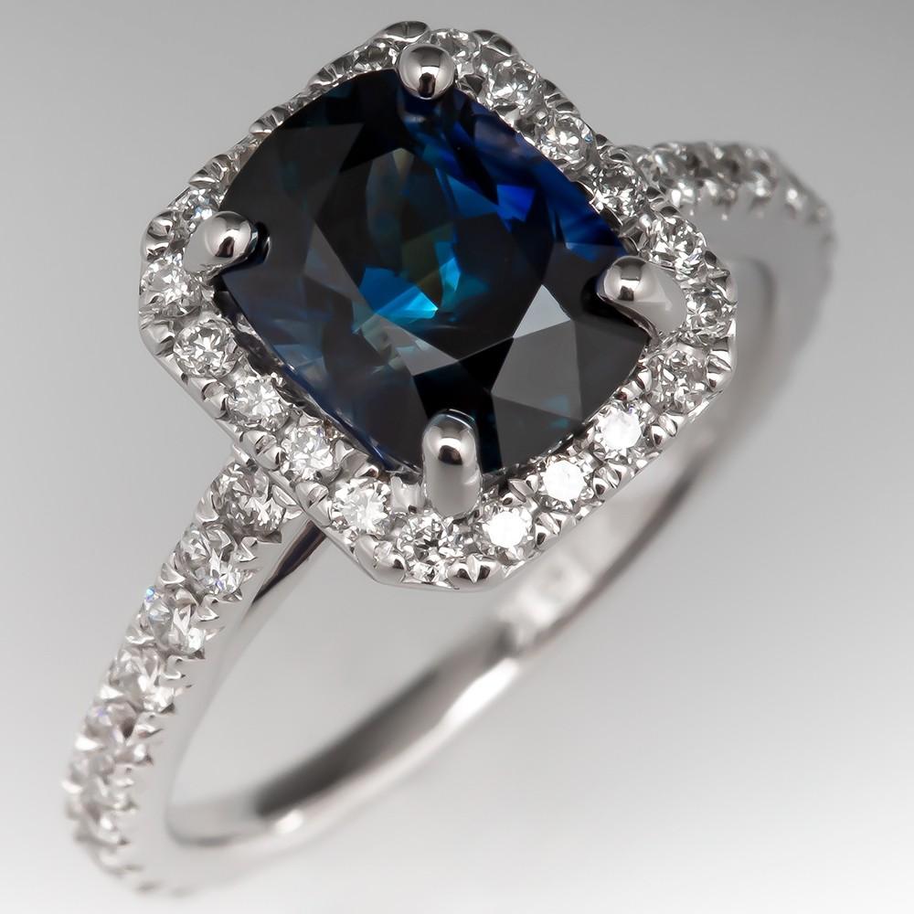 No Heat Dark Teal Sapphire & Diamond Halo Engagement Ring