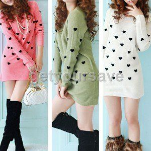 Girl Fashion style V-Neck Tunic Knit Wear Pullover Sweater Dress Tops 3 Colors