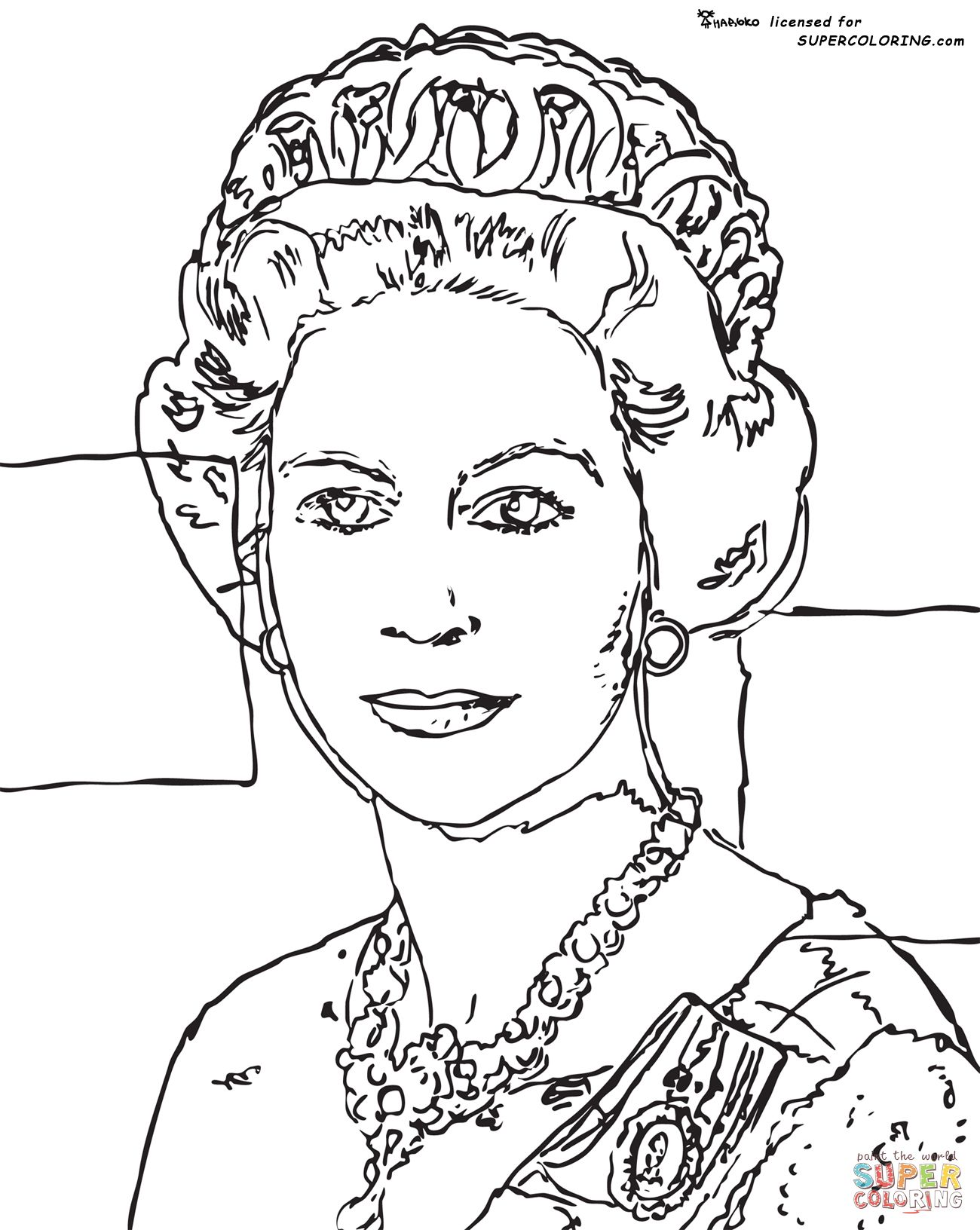 Queen Elizabeth By Andy Warhol Coloring page Free
