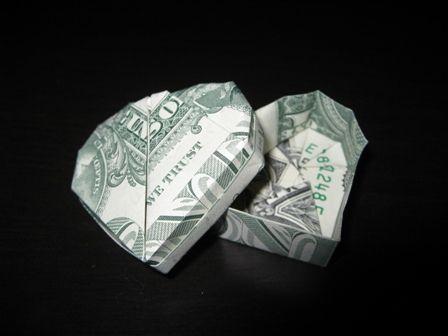 Origami Dollar Heart & Star Tutorial - How to make a Dollar heart ... | 336x448