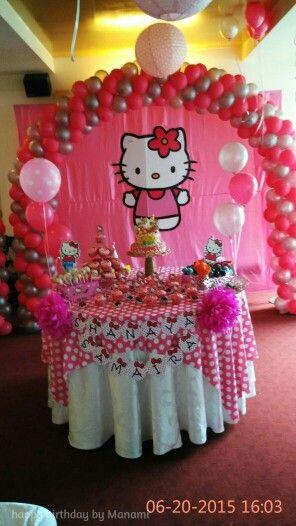 Backdrop and cake table hello kitty birthday party ideas