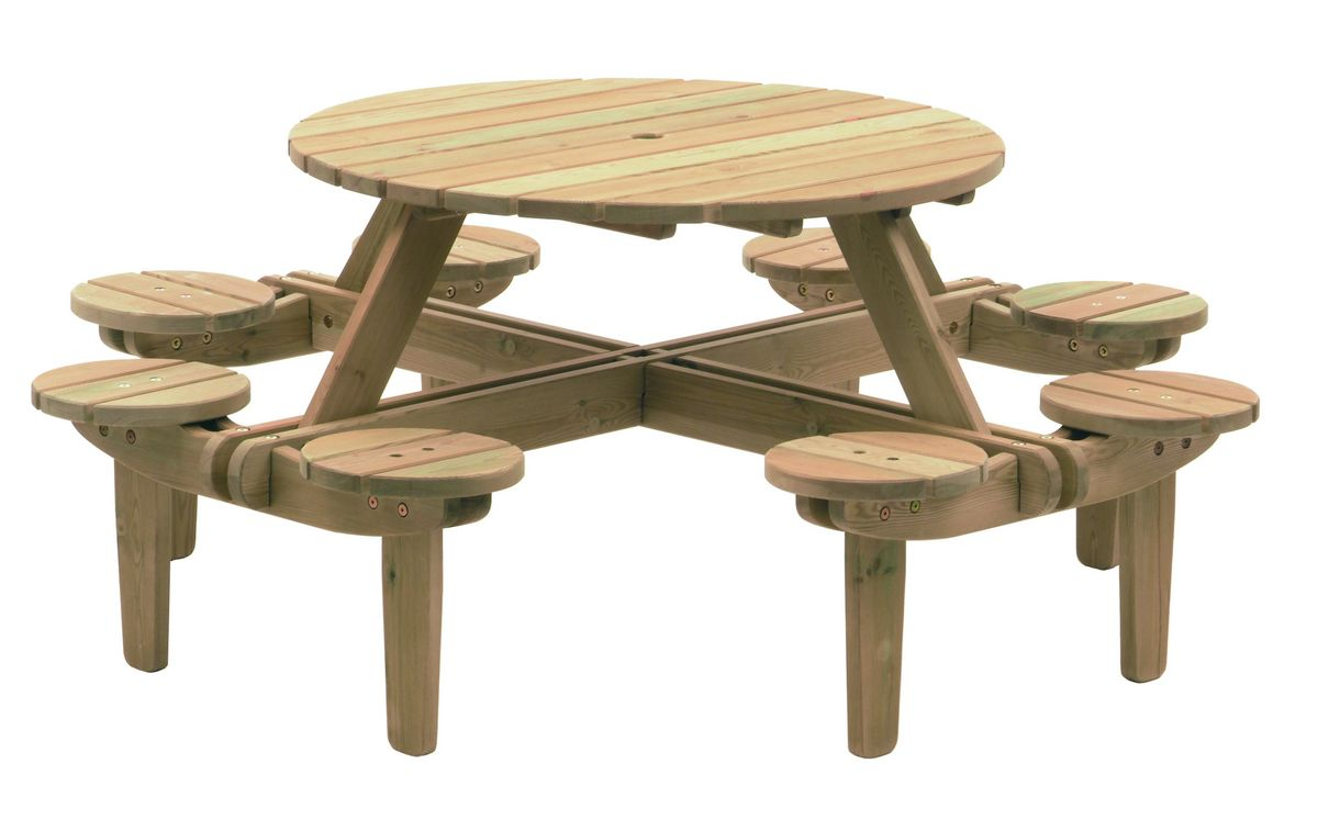 Round Picnic Table With Seat Backs   8 Seater   Free Delivery Available   Garden  Furniture | Back Yard Fun | Pinterest | Round Picnic Table, Picnic Tables  ...