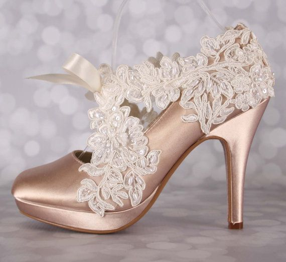 e8e7a3c040 Champagne Wedding Shoes Ivory Lace Overlay Sash Closed Toe High Heel Custom  Design Your Own Wedding Shoes
