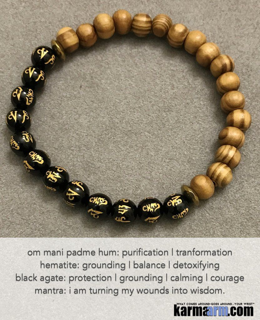 ca4dbe786b Yoga Bracelets. Black Agate OM Mantra Bamboo. Handmade Luxury. Men's &  Women's Law of Attraction. Energy Healing. Beaded Mala. Tibetan Buddhist.  #LOA.