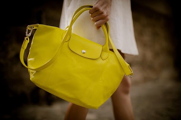 Le Pliage Cuir in leather   Lemon by Longchamp  7961c558fadf7