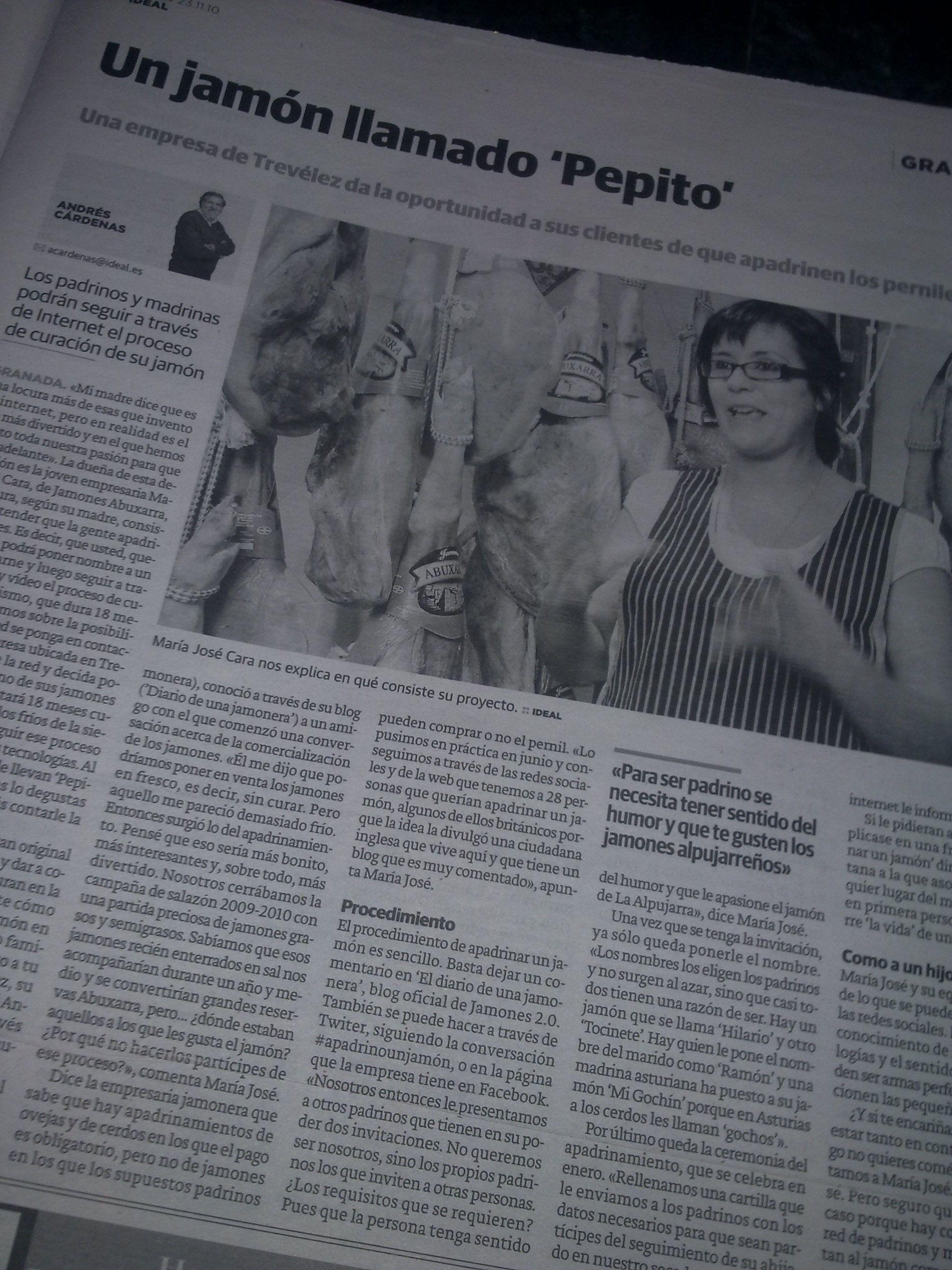 Pepito, un jamón apadrinado. Diario Ideal Granada. Ya sólo queda el hueso.