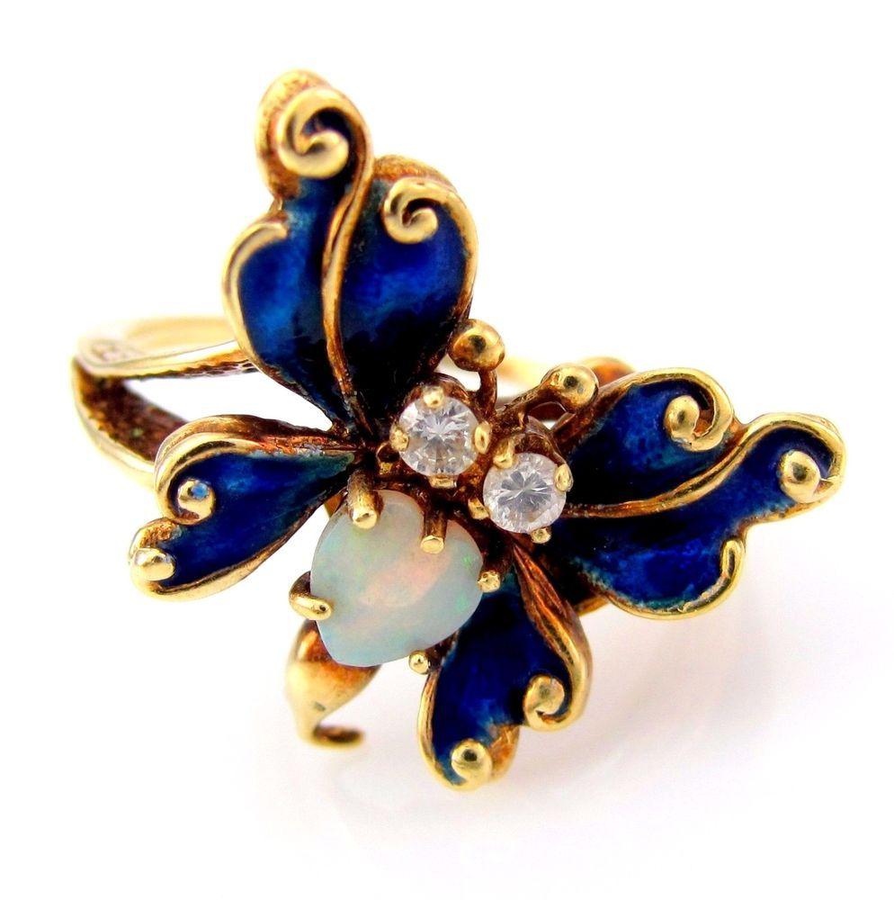 Blue Enamel, Synthetic Opal & CZ Butterfly Ring 14K Yellow Gold | FJ BXX #Fashion