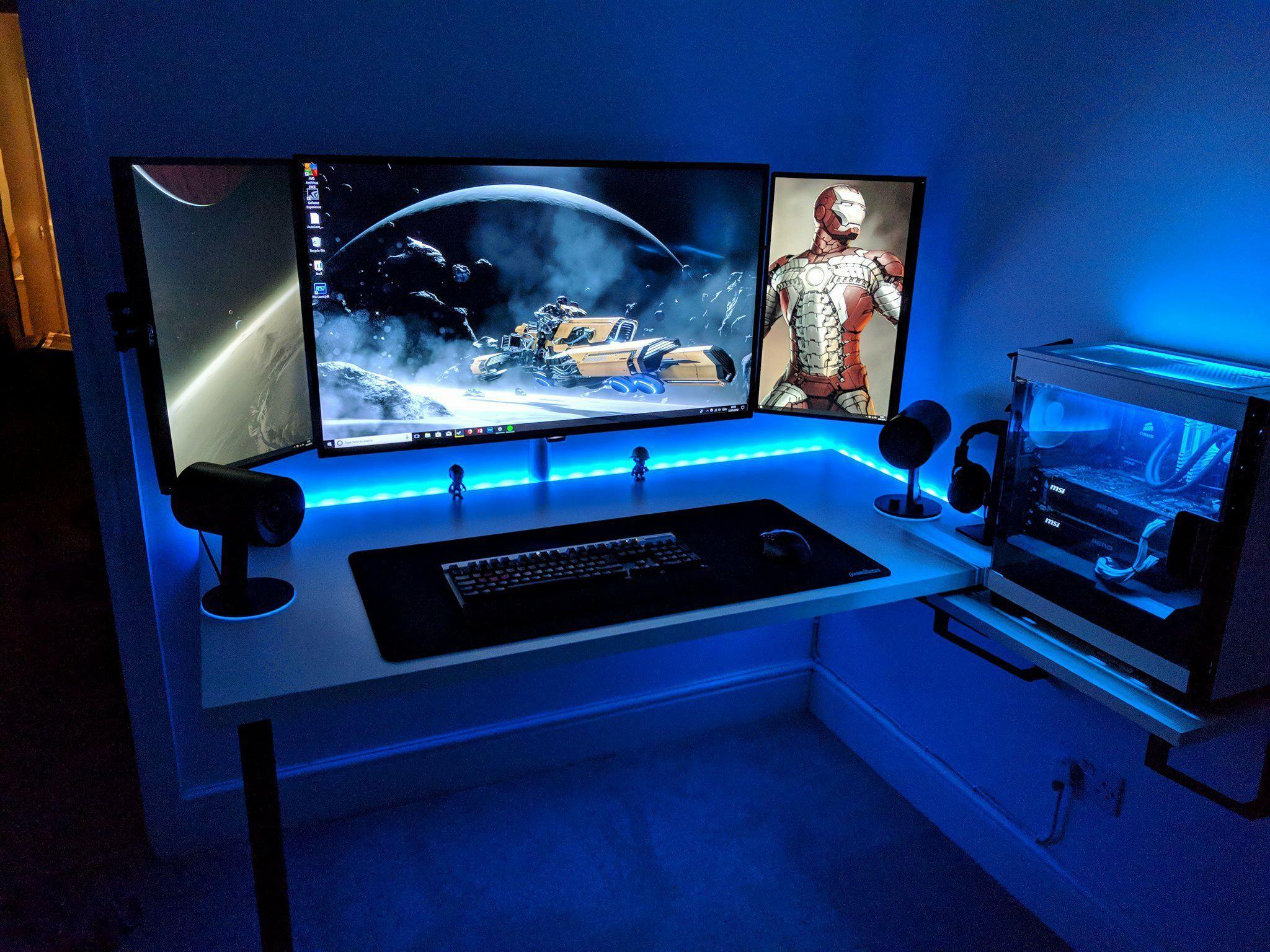20 Most Popular DIY Computer Desk Plans - Gripelements #gamingrooms