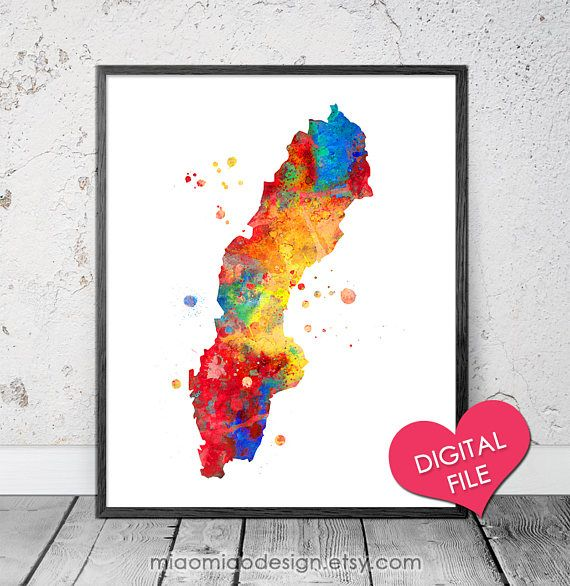 Sweden Map Watercolor PRINTABLE Art Digital Download Sweden SHOP - Sweden map printable