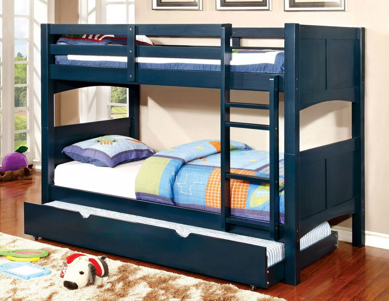 Loft bed with slide wayfair  Prismo II Twin over Twin Trundle Bunk Bed in Blue by Furniture of