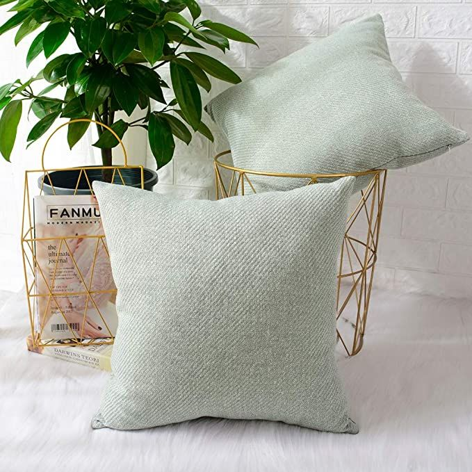 MERNETTE New Year/Christmas Decorations Chenille Soft Decorative Square Throw Pillow Cover Cushion Covers Pillowcase, Home Decor for Party/Xmas 16x16 Inch/40x40 cm, Light Green, Set of 2