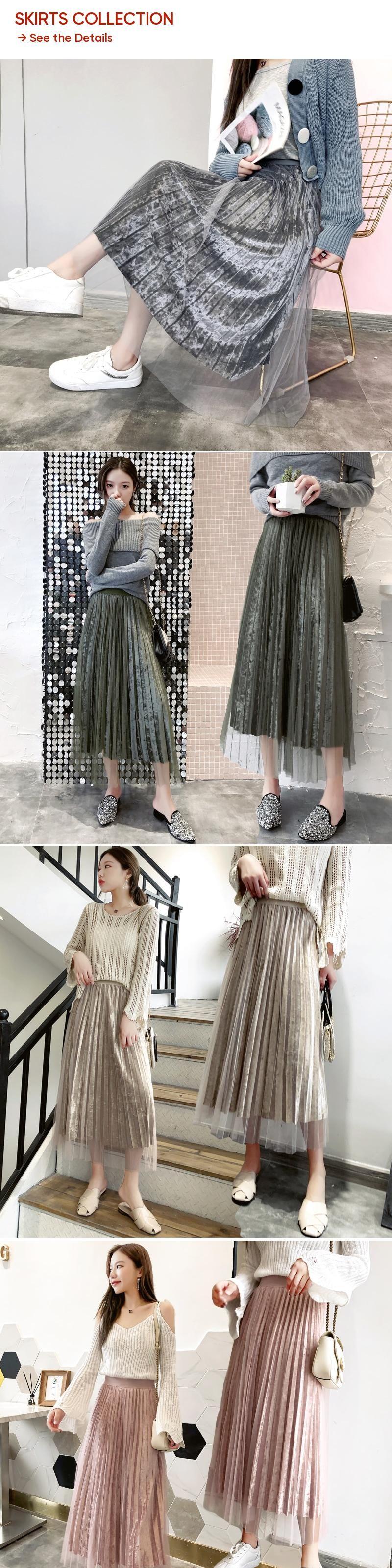 4ee80c5d77ed0 Kpop Harajuku 2018 New Fashion Womens Princess Fairy Style Voile Tulle Skirt  Diamond Velvet Pleated Skirt