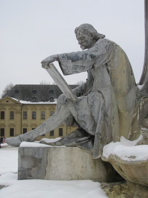 One of the sculptures on the fountain in front of the Wuerzburg Residence