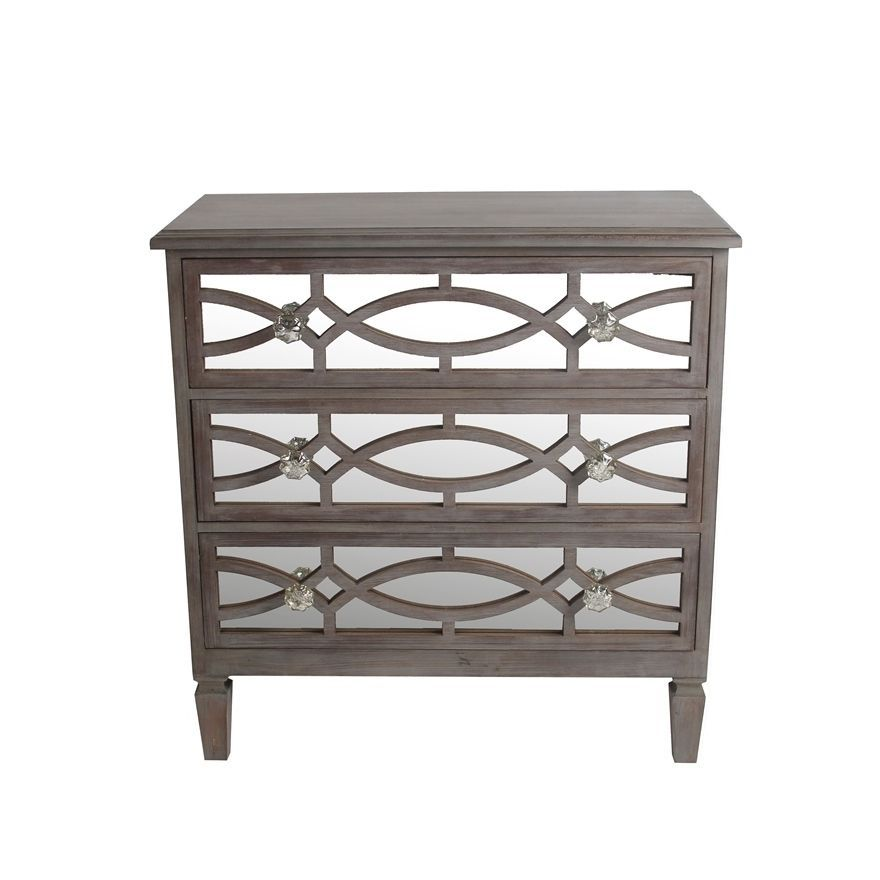 Privilege Blue Glass, Wood Mirrored 3 Drawer Accent Stand | Overstock.com  Shopping