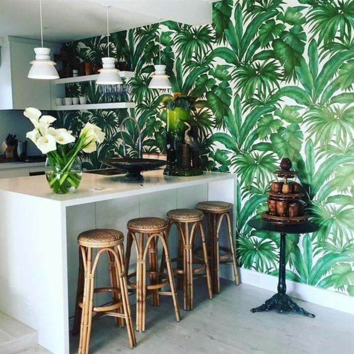 1001 mod les de papier peint tropical et exotique for Modele papier peint cuisine