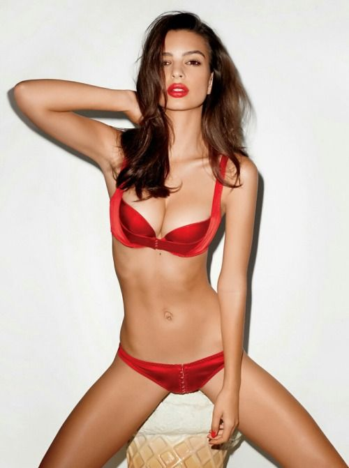 e4daf405a24 Emily Ratajkowski wearing the Jena set in red by Agent Provocateur ...