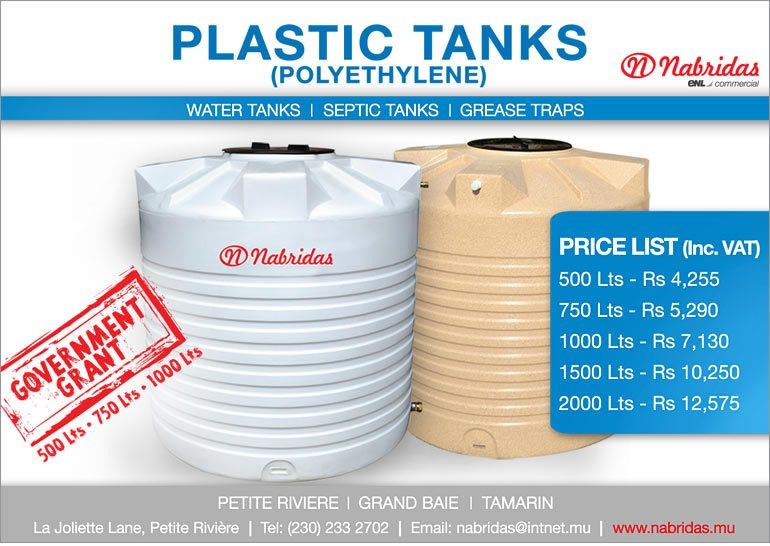 New Water Tanks By Nabridas As From Rs 4 255 Tel 233 2702 Adverts Latest Water Tank Septic Tank Cleaning Storage