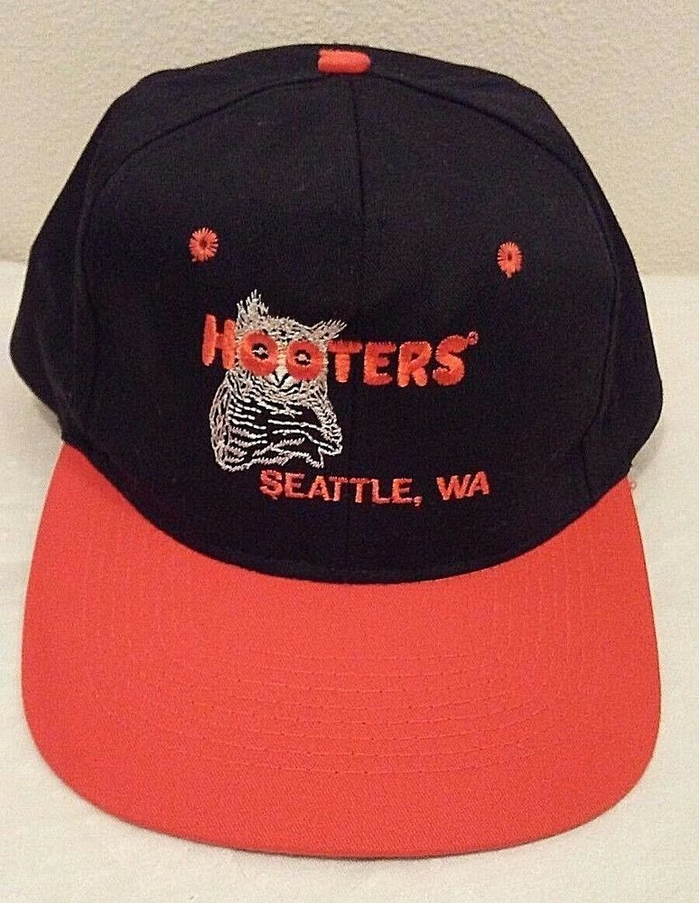 403185fdc74 Hooters Souvenir Hat Snapback Baseball Cap Seattle WA Black Orange Owl Logo   Hooters  BaseballCap