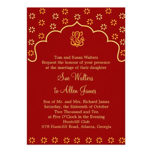 Ganesh Wedding Invitations: Red And Gold Ganesh Wedding Invitation