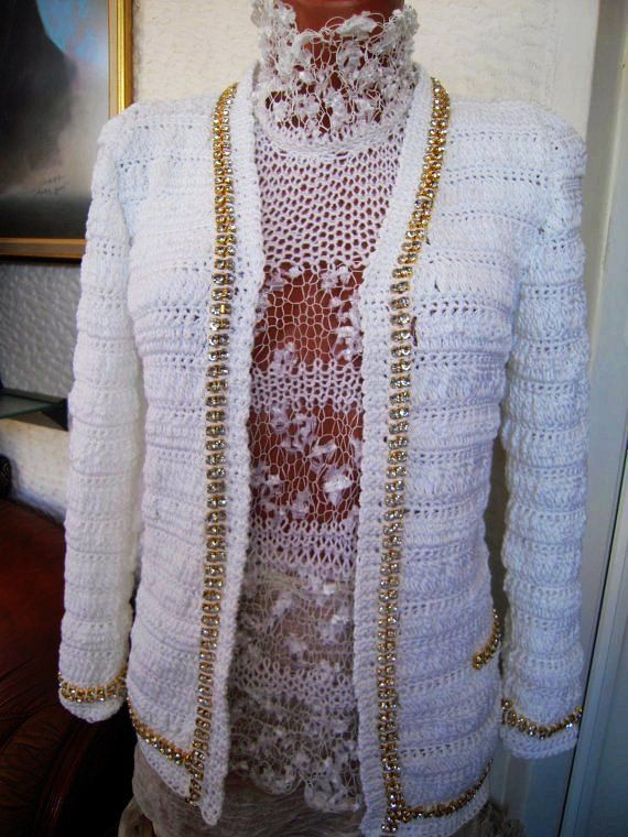 Luxury ladies designer handmade crochet cardigan/jacket in white ...