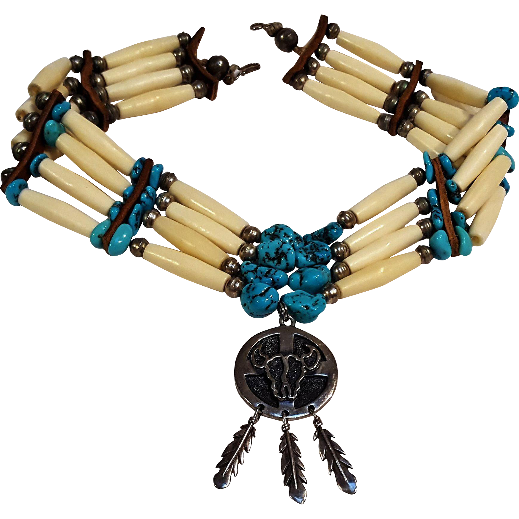 Native American Indian Black Horn Hairpipe Bead Choker with Your choice of Pendant Handmade Choker 3 Strand
