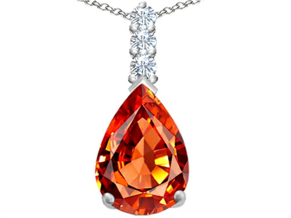 Star K Large 14x10mm Pear Shape Simulated Orange Mexican Fire Opal Pendant Necklace