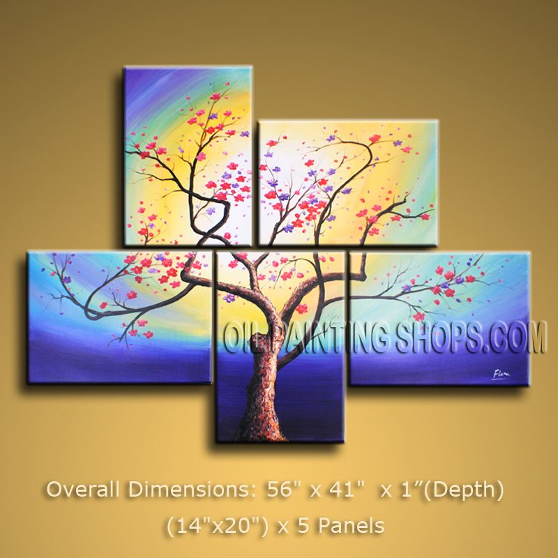 5 Pieces Contemporary Wall Art Floral Painting Plum Blossom Ready To ...