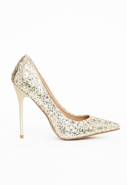 sélection premium fcd23 a0ea8 Selena Pointed Toe Court Shoes Gold Glitter - Shoes - High ...